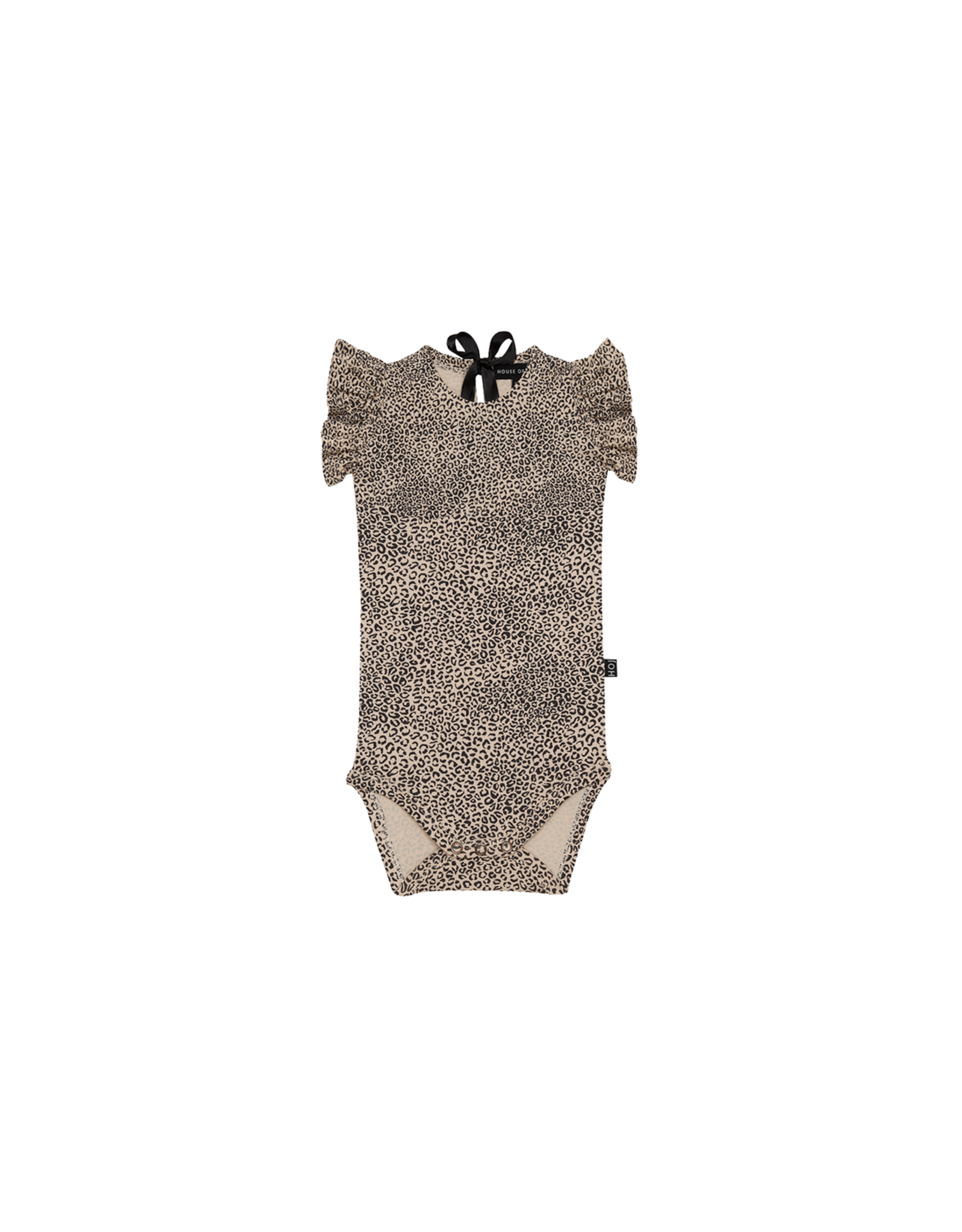 House of Jamie HOJ Ruffled Bodysuit Charcoal Little Leopard
