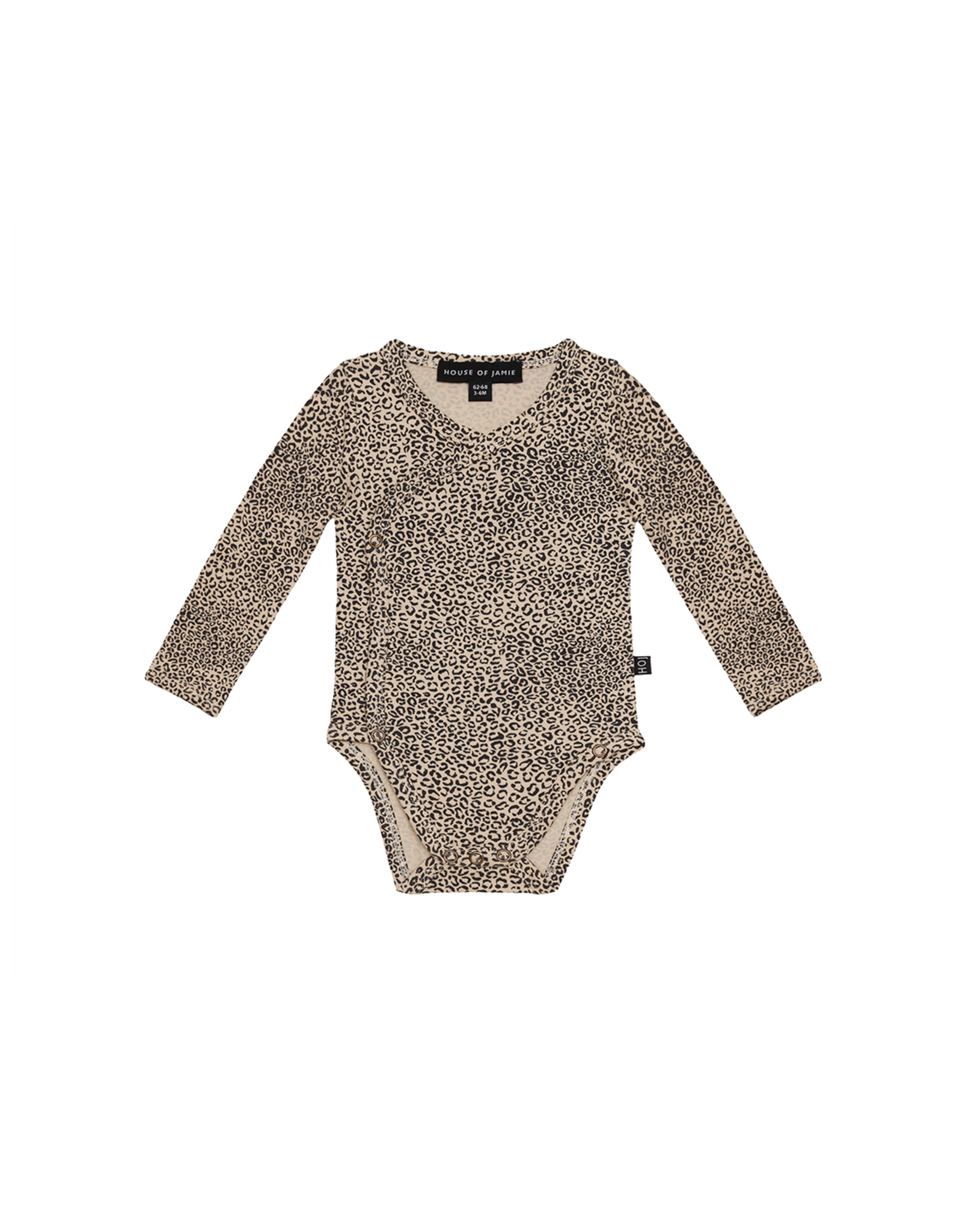 House of Jamie HOJ Wrap Bodysuit Charcoal Little Leopard