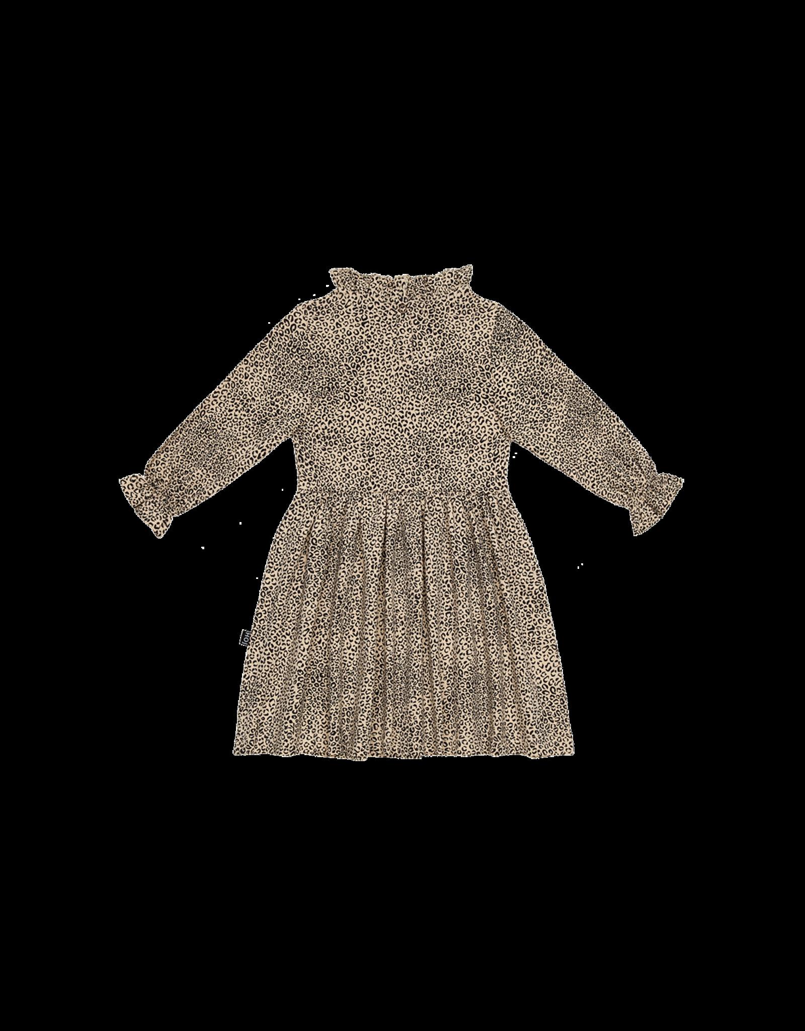 House of Jamie HOJ Frill Collar Dress Charcoal Little Leopard