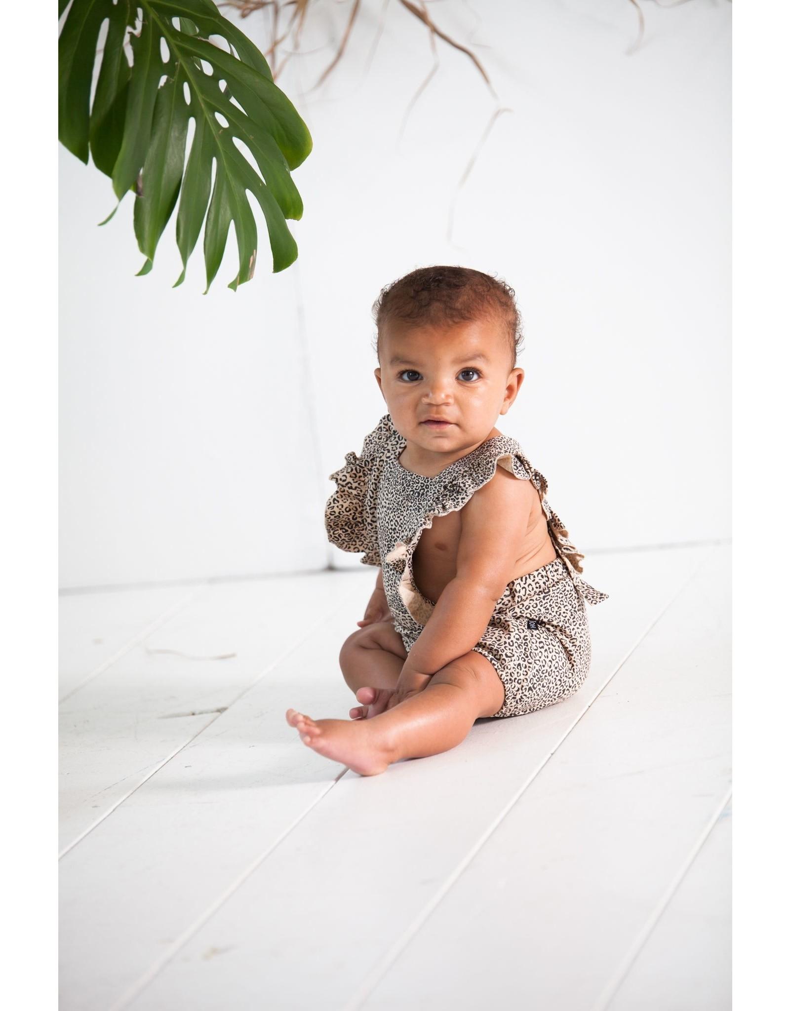 House of Jamie HOJ Ruffled Baby Salopette Charcoal Little Leopard
