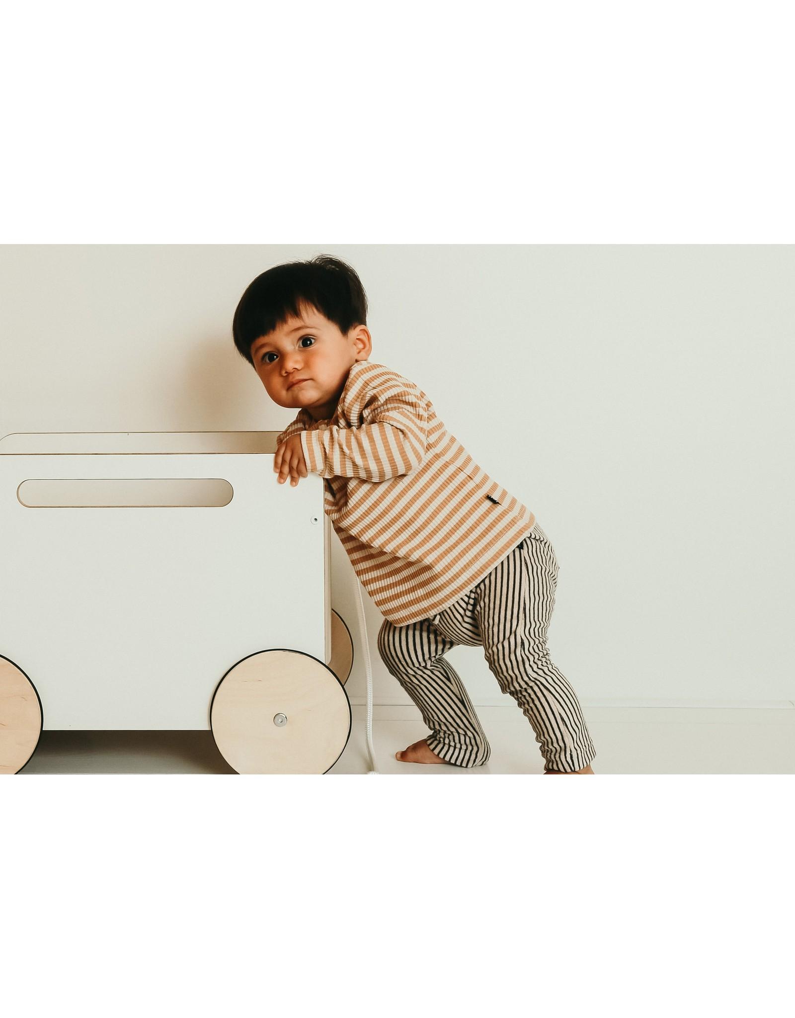 House of Jamie HOJ Baby Pants Charcoal Sheer Stripes