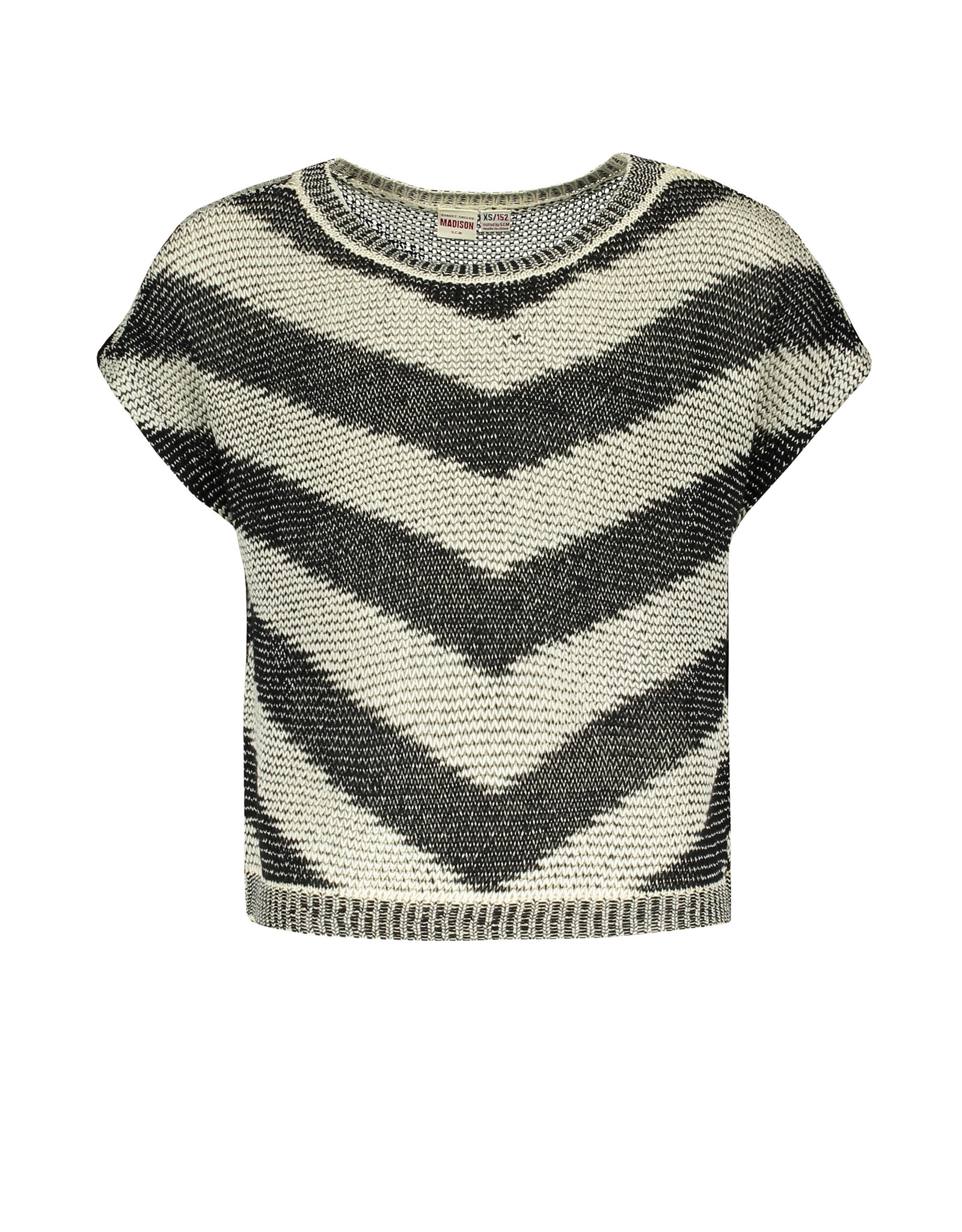 Street Called Madison SCM Luna Zigzag Knit Top Tiger Black