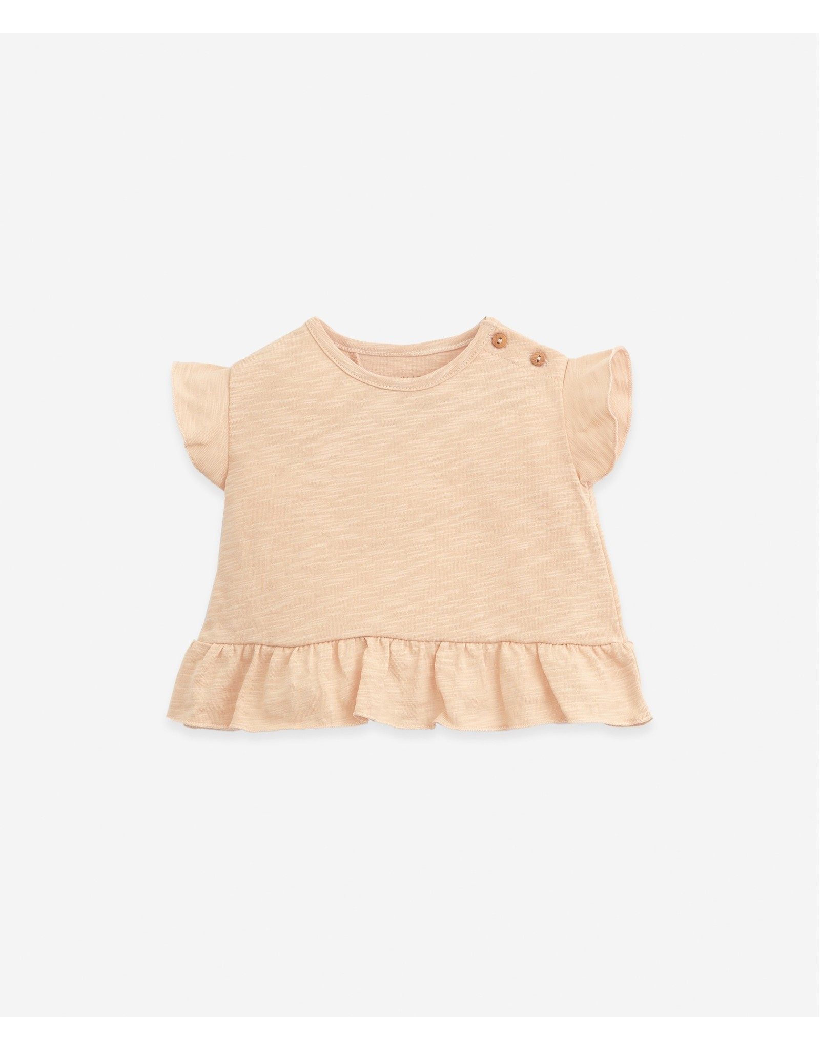 Play Up Play Up Organic Cotton T-shirt With Wooden Buttons Egg