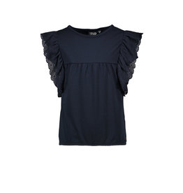 Like Flo Like Flo Girls Jersey Broidery Anglais Ruffle Top Navy