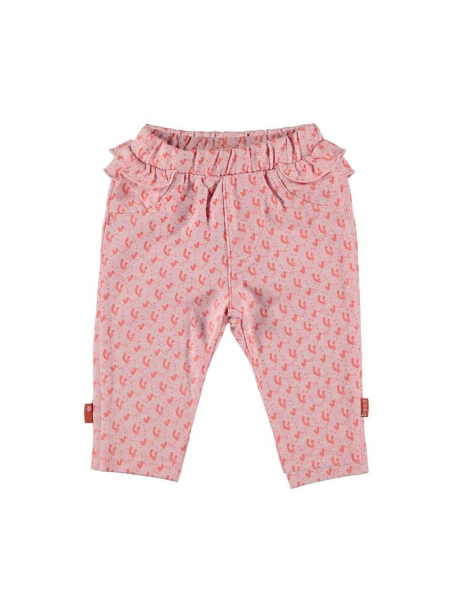 BESS Bess Pants AOP Flowers Ruffles Pink