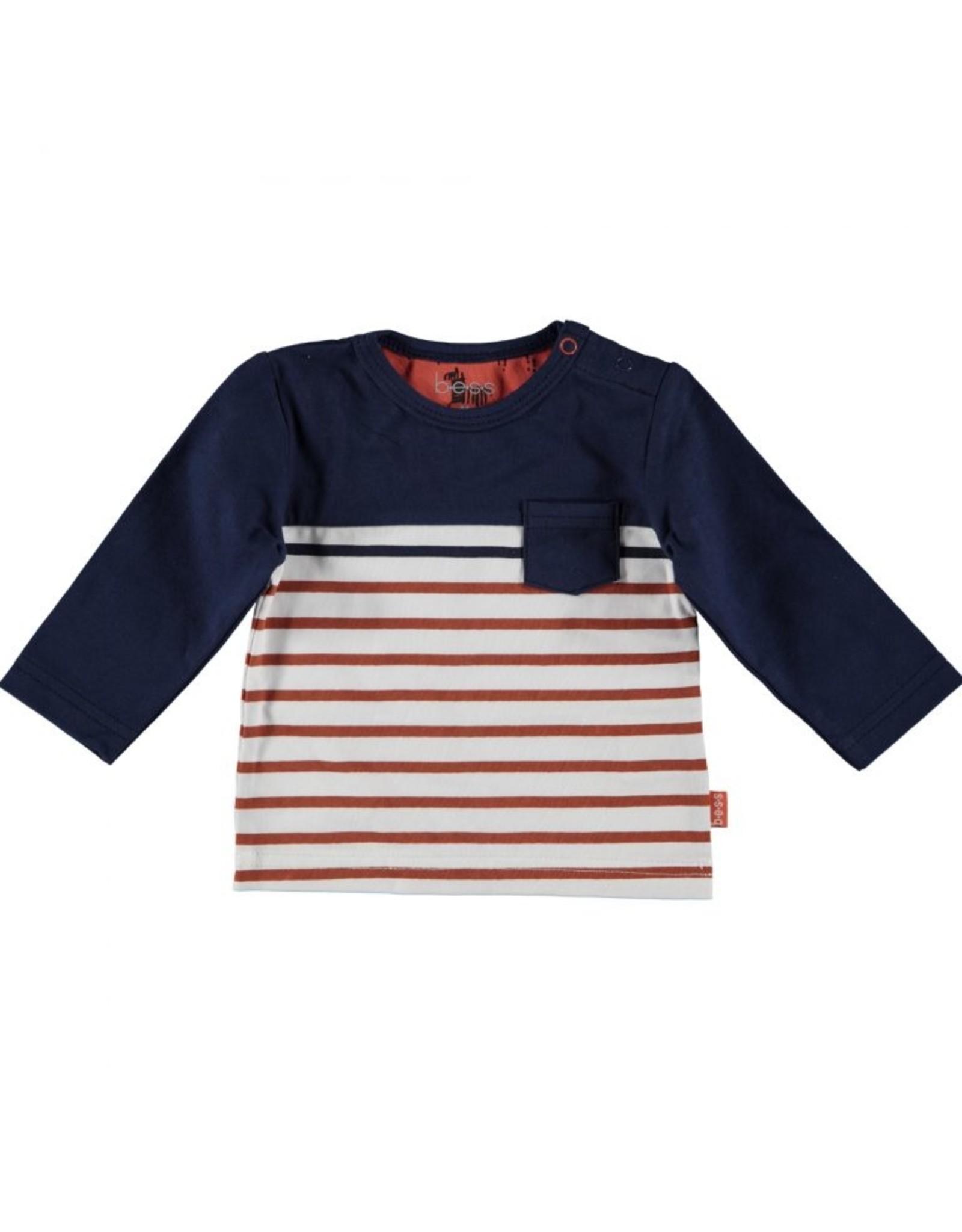 BESS Bess Shirt L. Sl. Striped With Pocket Blue