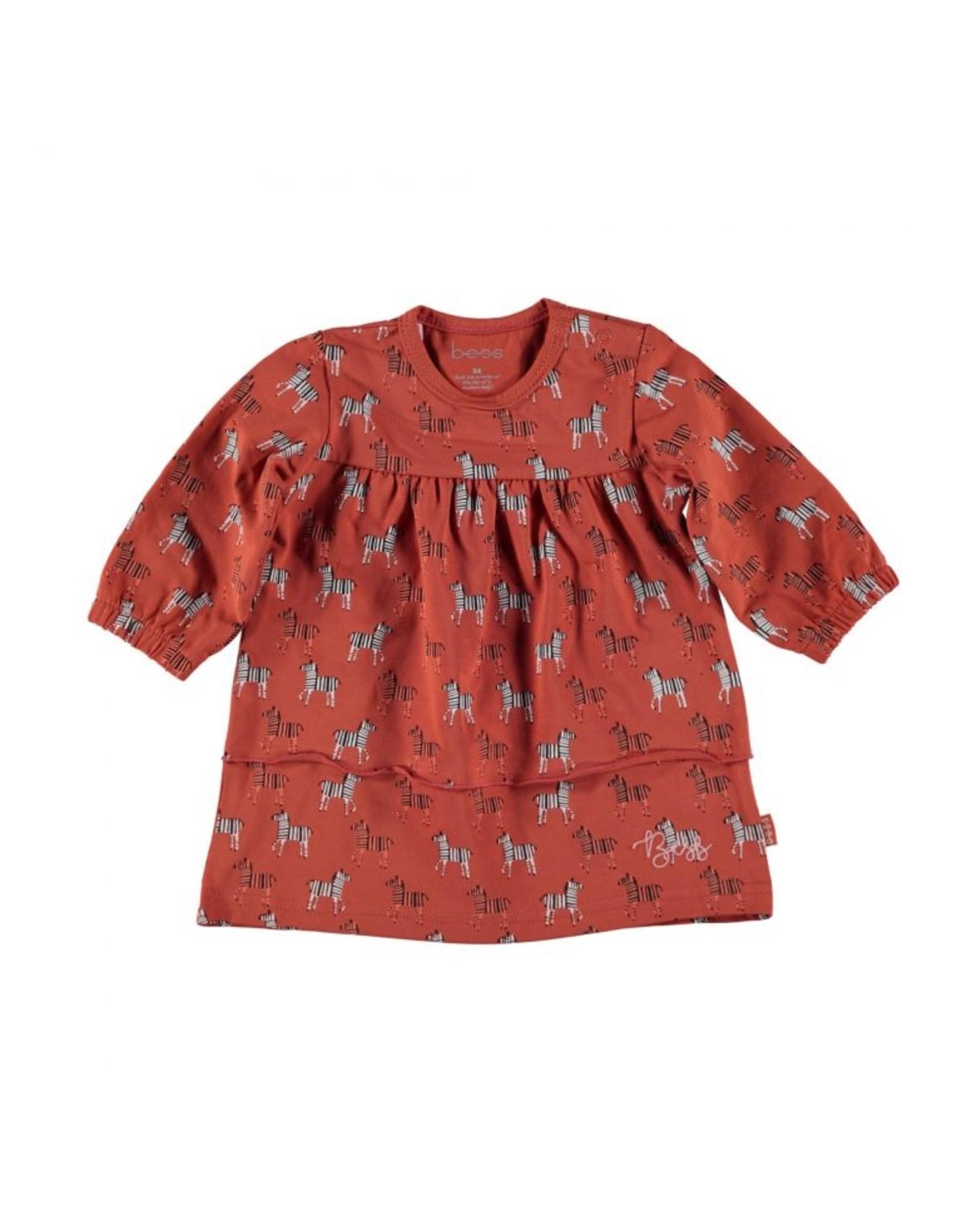 BESS Bess Dress L. Sl. AOP Zebra Rusty