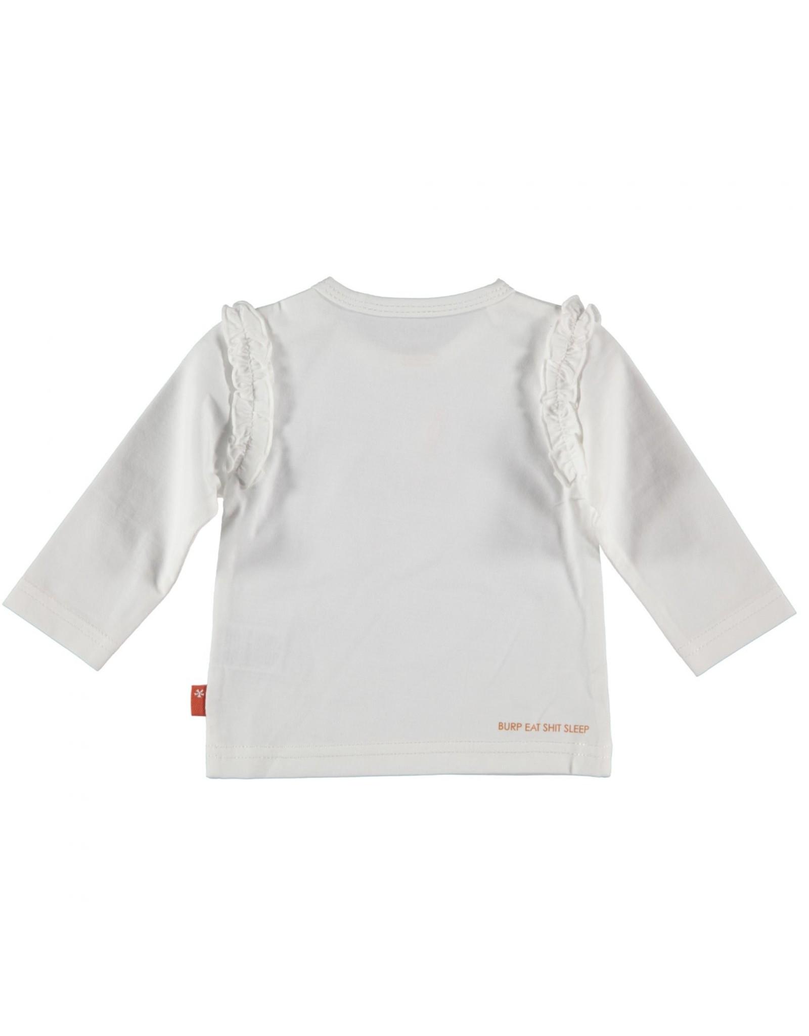 BESS Bess Shirt L. Sl. Zebra Ruffles White