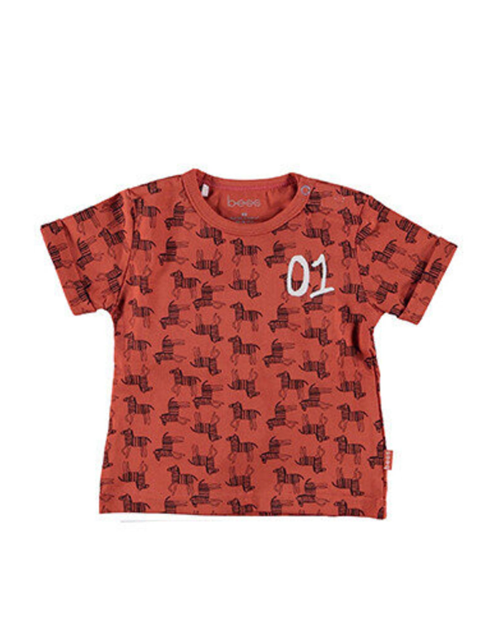 BESS Bess Shirt Sh.Sl. AOP Zebra Rusty