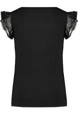 NONO NoNo Kathy Rib T Shirt Ruffled Antracite