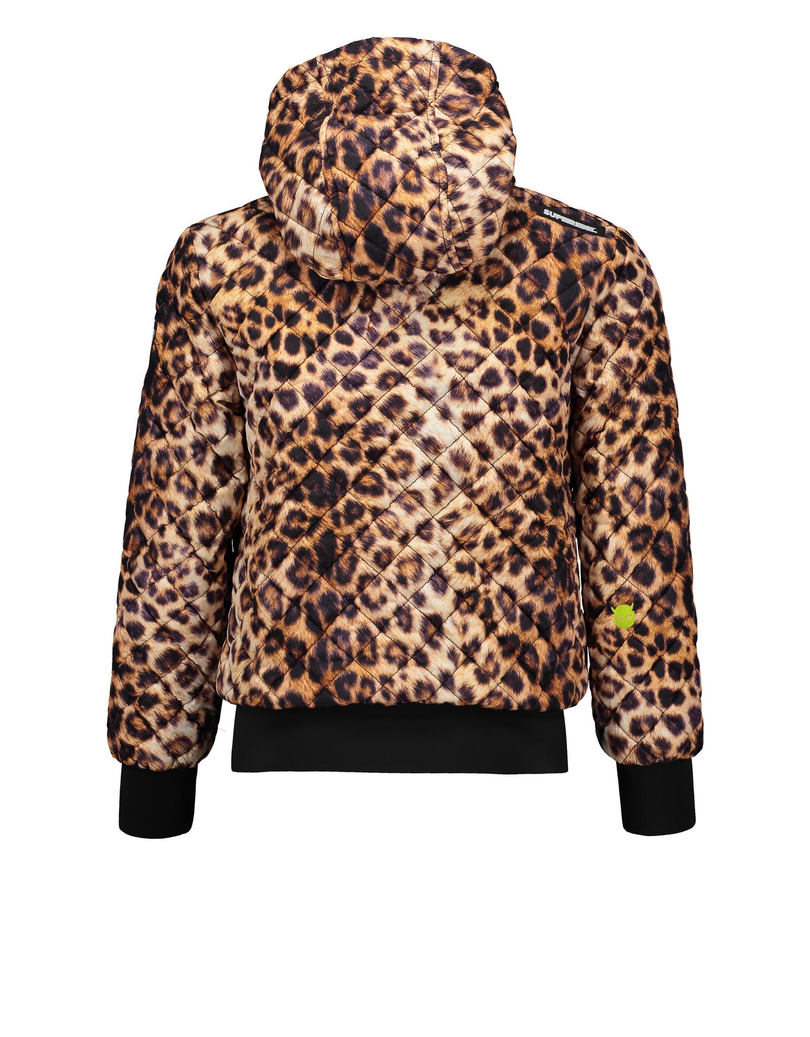 Super Rebel SuperRebel Quilted Oversized Jacket met Luipaard print