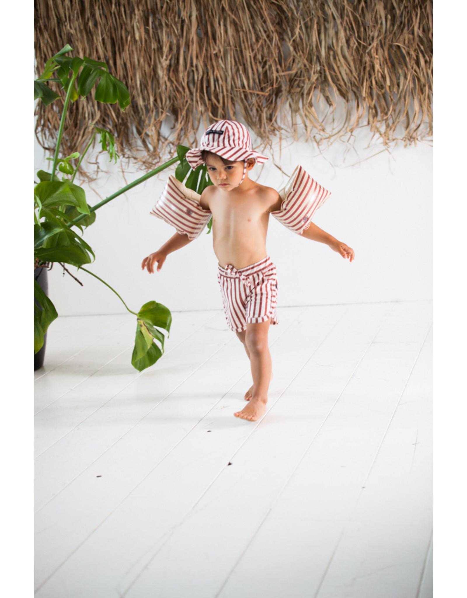 House of Jamie HOJ Swim Gym Shorts Baked Clay Stripes