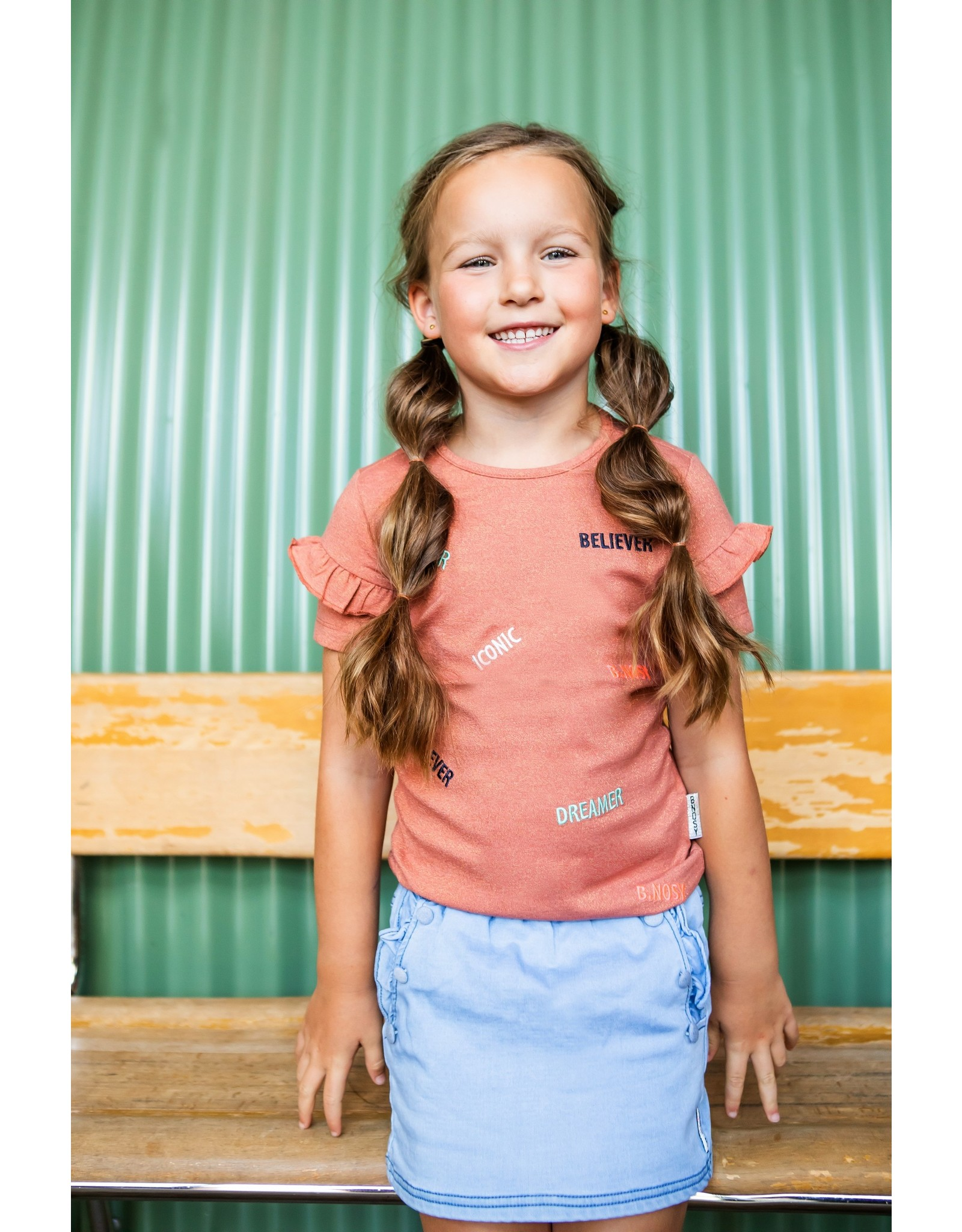 B.Nosy B.Nosy Girls Lurex Shirt With AO Pale Brown