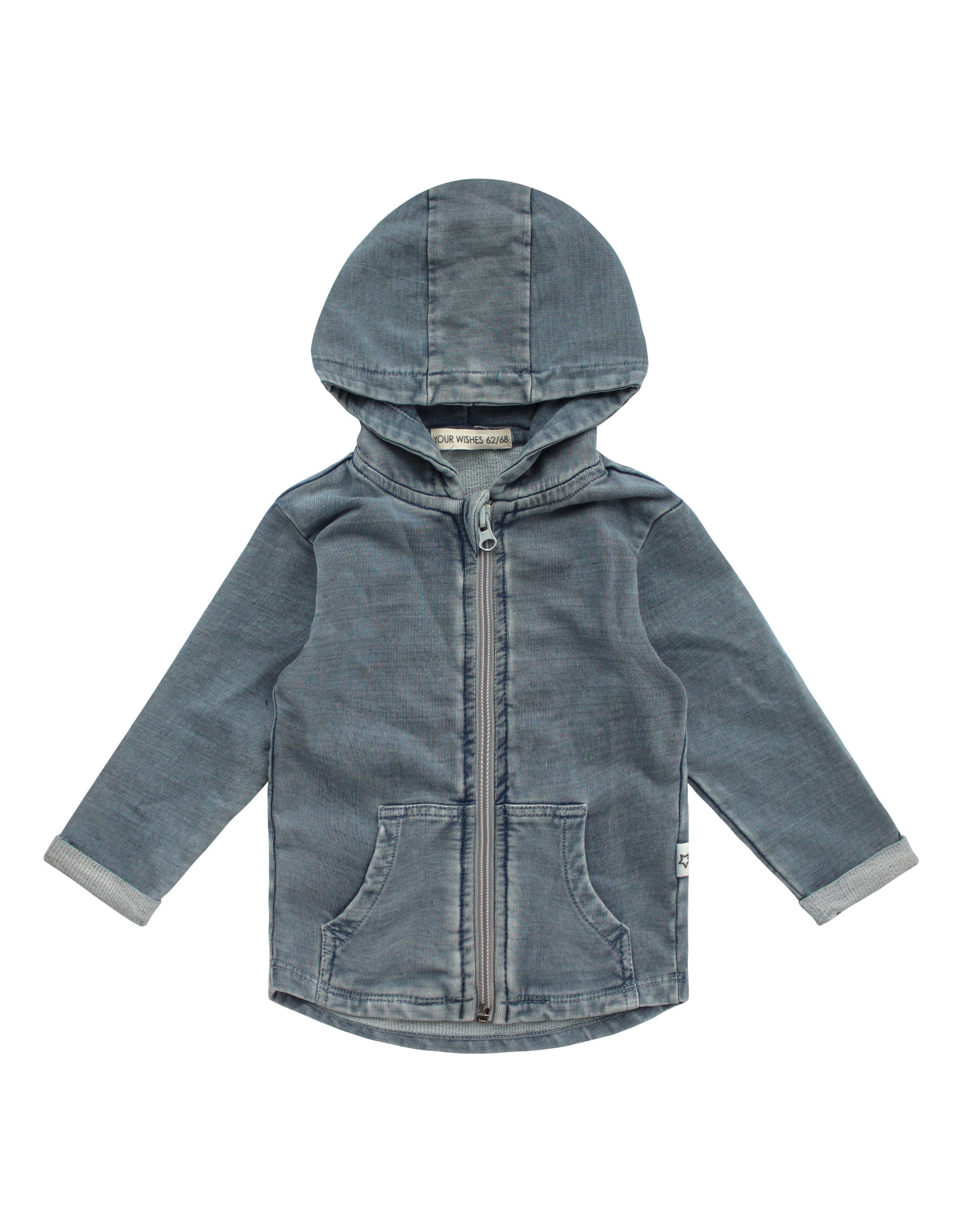 Your Wishes Your Wishes Knitted Denim Zipper Pocket Cardigan