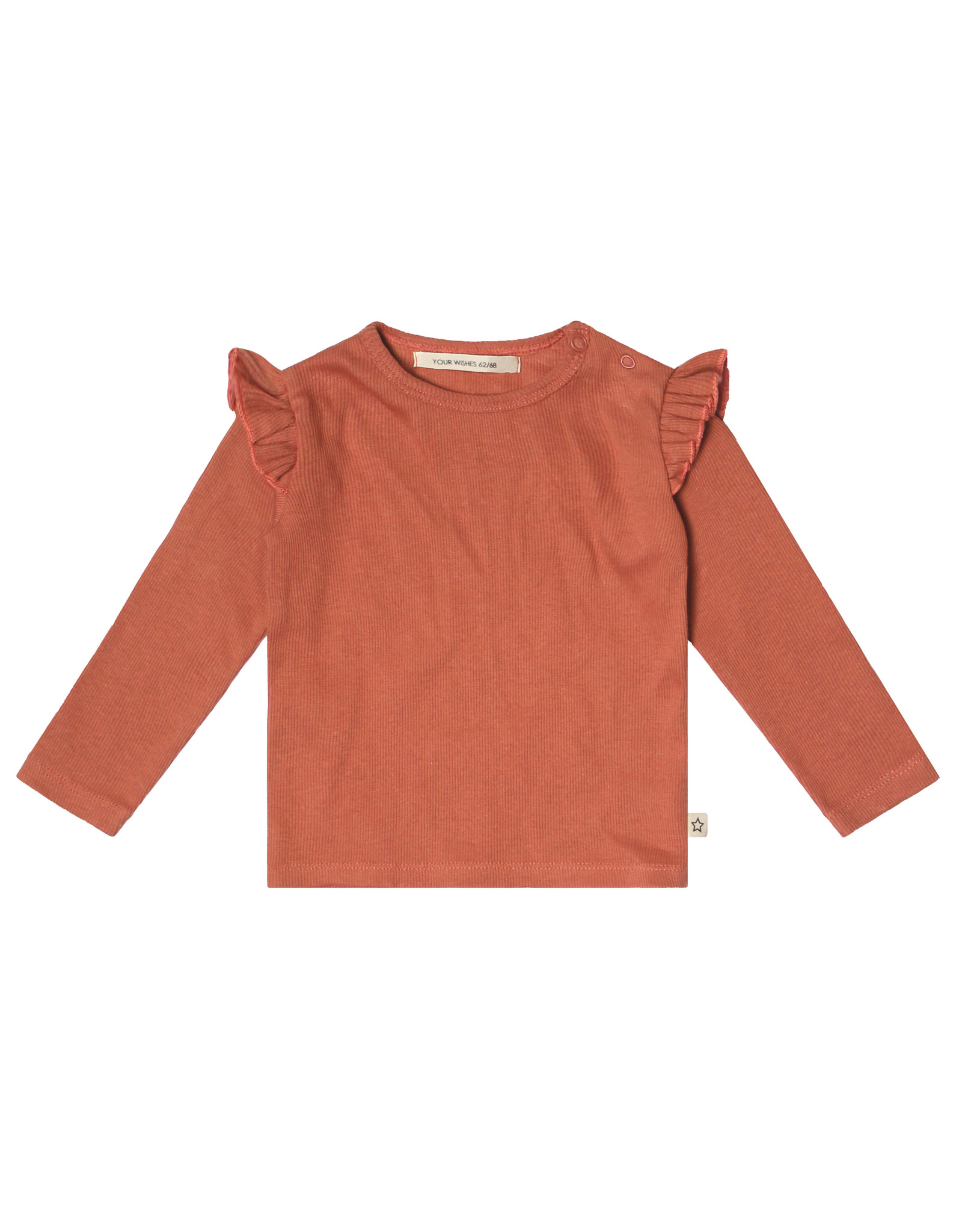 Your Wishes Your Wishes Rib Terra Ruffle Shoulder Top