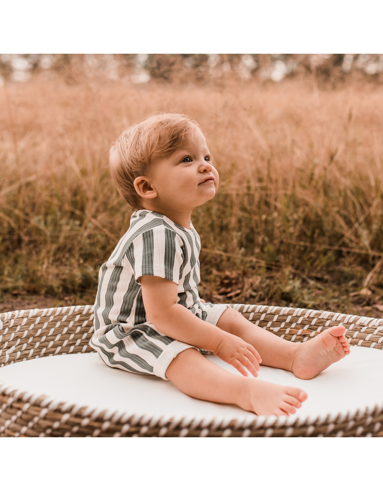 Your Wishes Your Wishes Bold Stripes Onesie Old Green maat 50-56