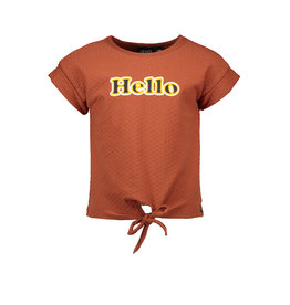 Like Flo Like Flo Girls Fancy Jersey Knot Top Cognac