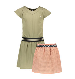Like Flo Like Flo Girls Jersey V-Neck Dress with Fancy Skirt Army