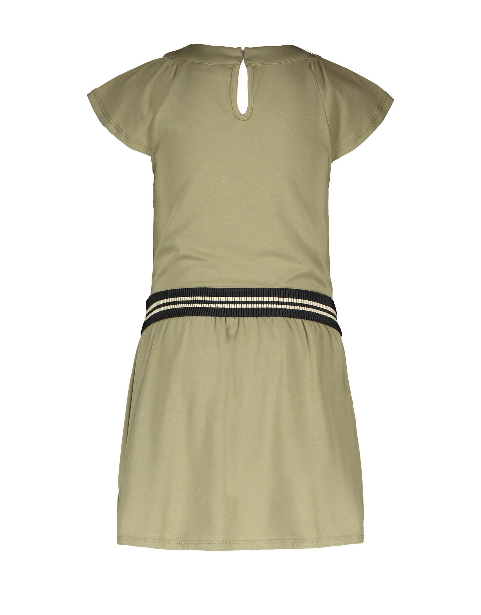Like Flo Like Flo Girls Jersey V-Neck Dress with Fancy Skirt Army