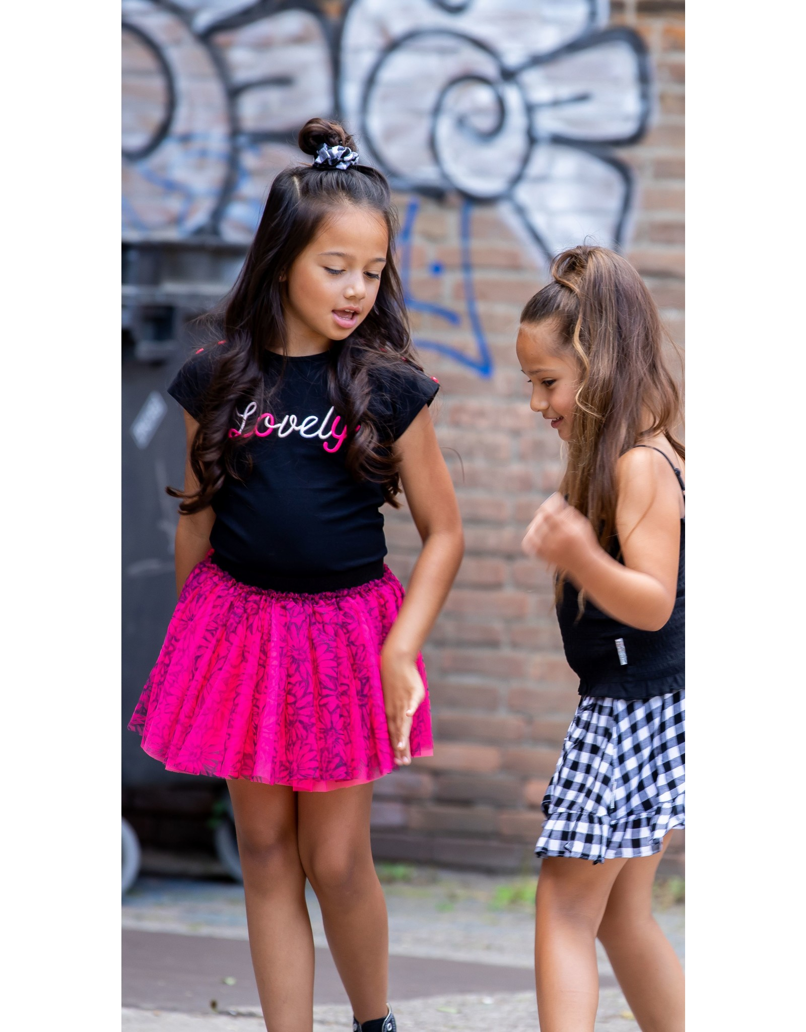 B.Nosy B.Nosy Girls T-shirt  With Buttons On Shoulder Black