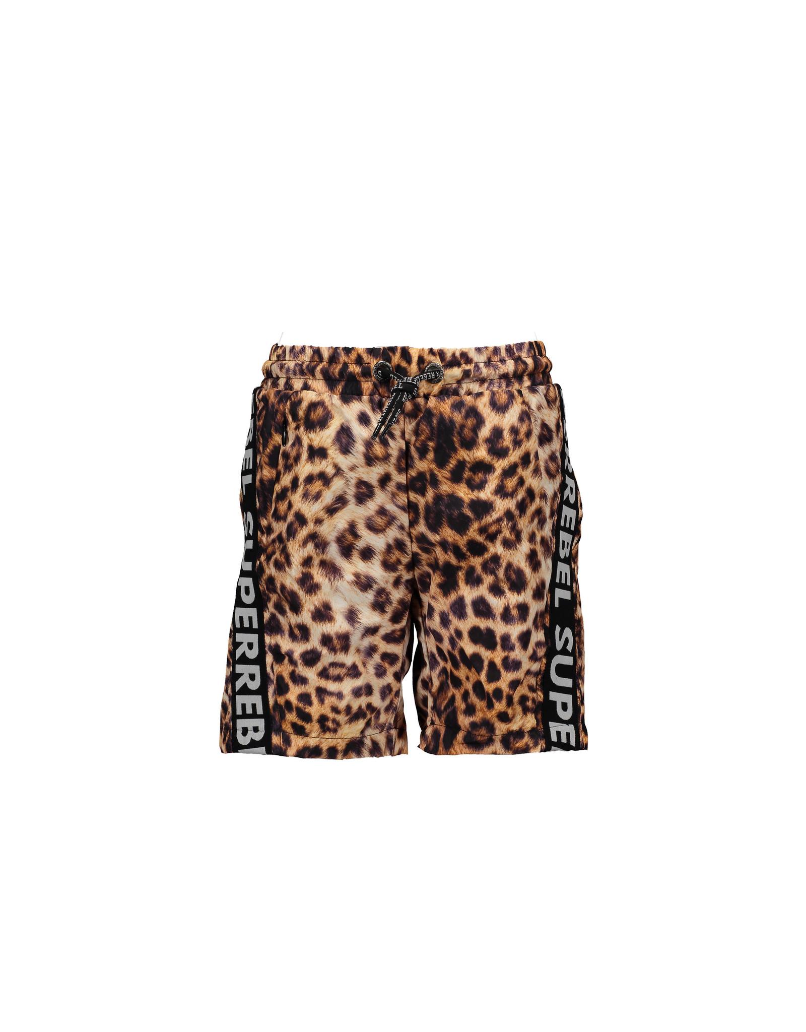 Super Rebel SuperRebel Swim Short Text Tape Leopard