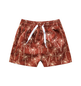 Your Wishes Your Wishes Palmtrees Swim Shorts Dark Rust - Kids
