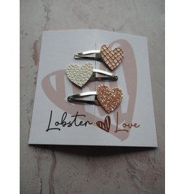 Lobster Love Lobster Love Haarspeldjes 4 cm Hartje mini Roségoud 3 stuks