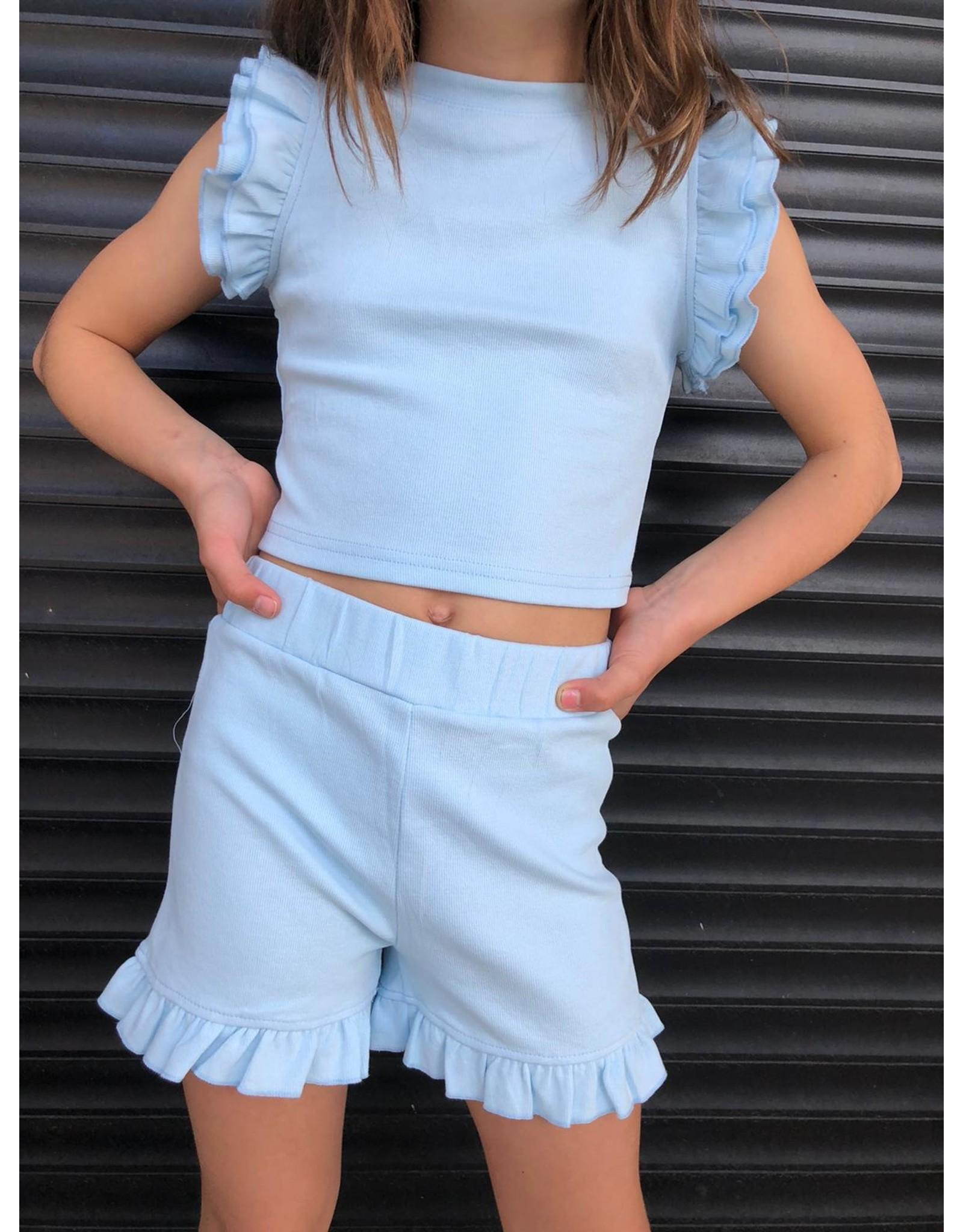 Set Ruffle Top & Short Blue