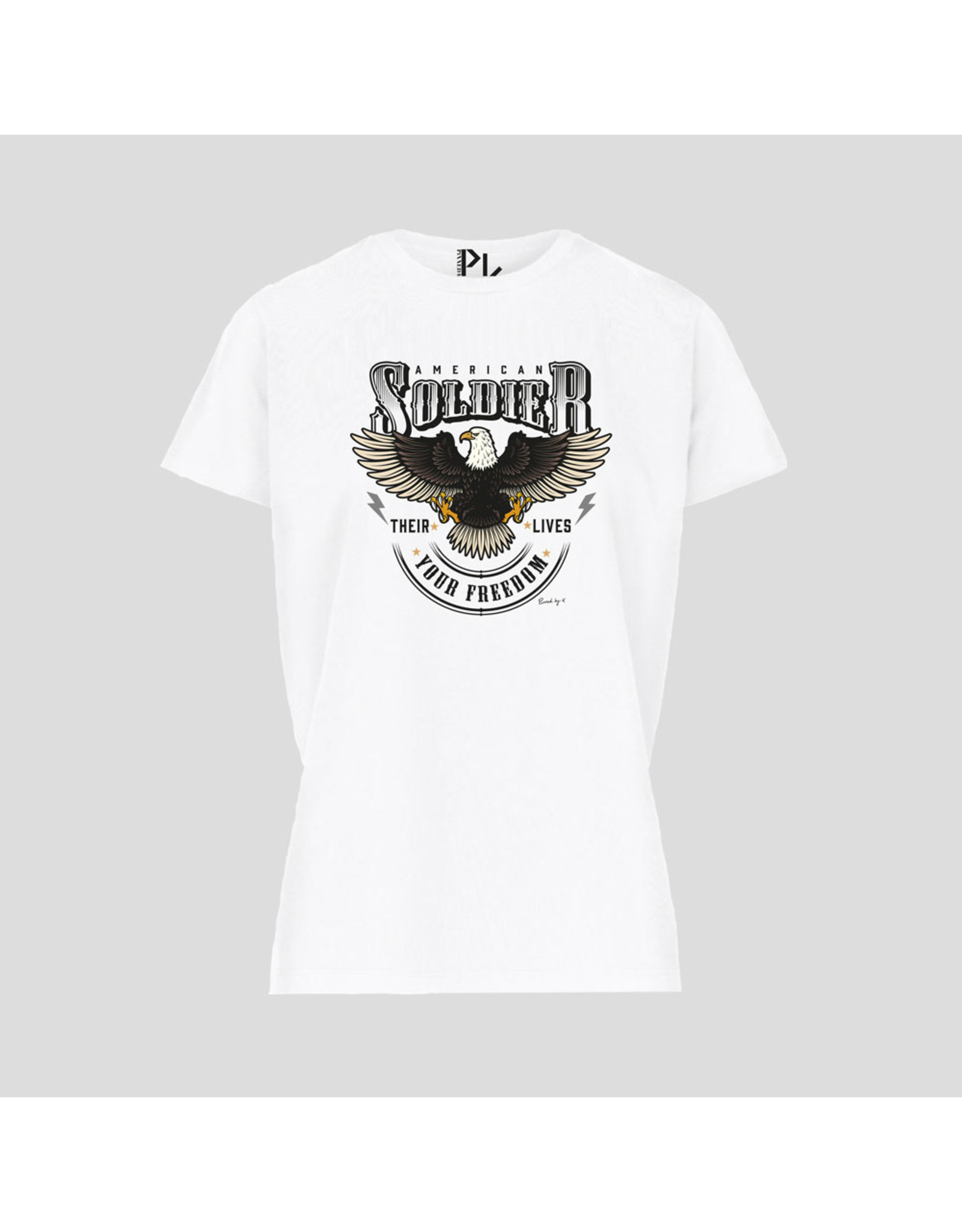 Pinned by K Pinned by K T-shirt American Soldier White