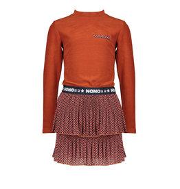 NONO NoNo Combi Dress With Ribbed Rust