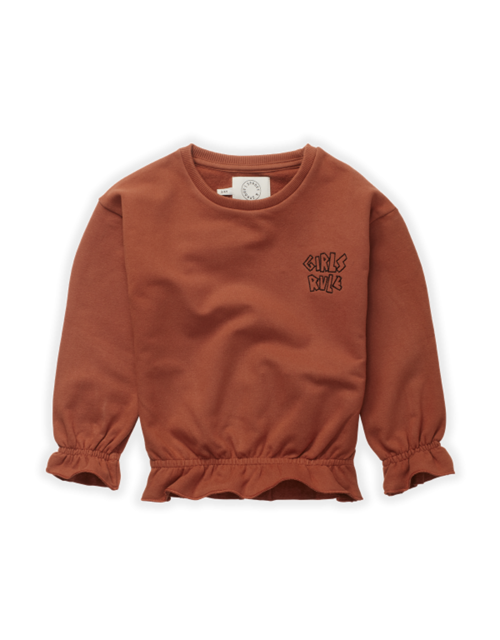 Sproet & Sprout Ruffle Sweatshirt Girls Rule Auburn