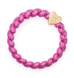 By Eloise By Eloise Woven Gold Heart Bubblegum Pink