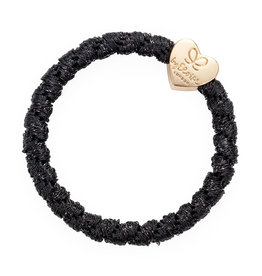 By Eloise By Eloise Woven Gold Heart Black Shimmer