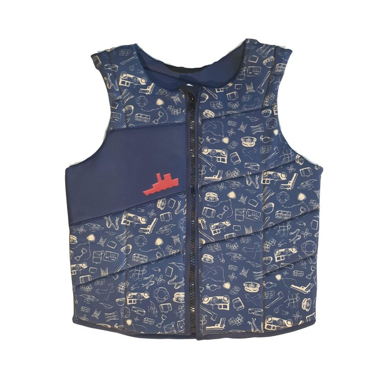 Pull Pull Scallywag Navy Front-zip impact vest