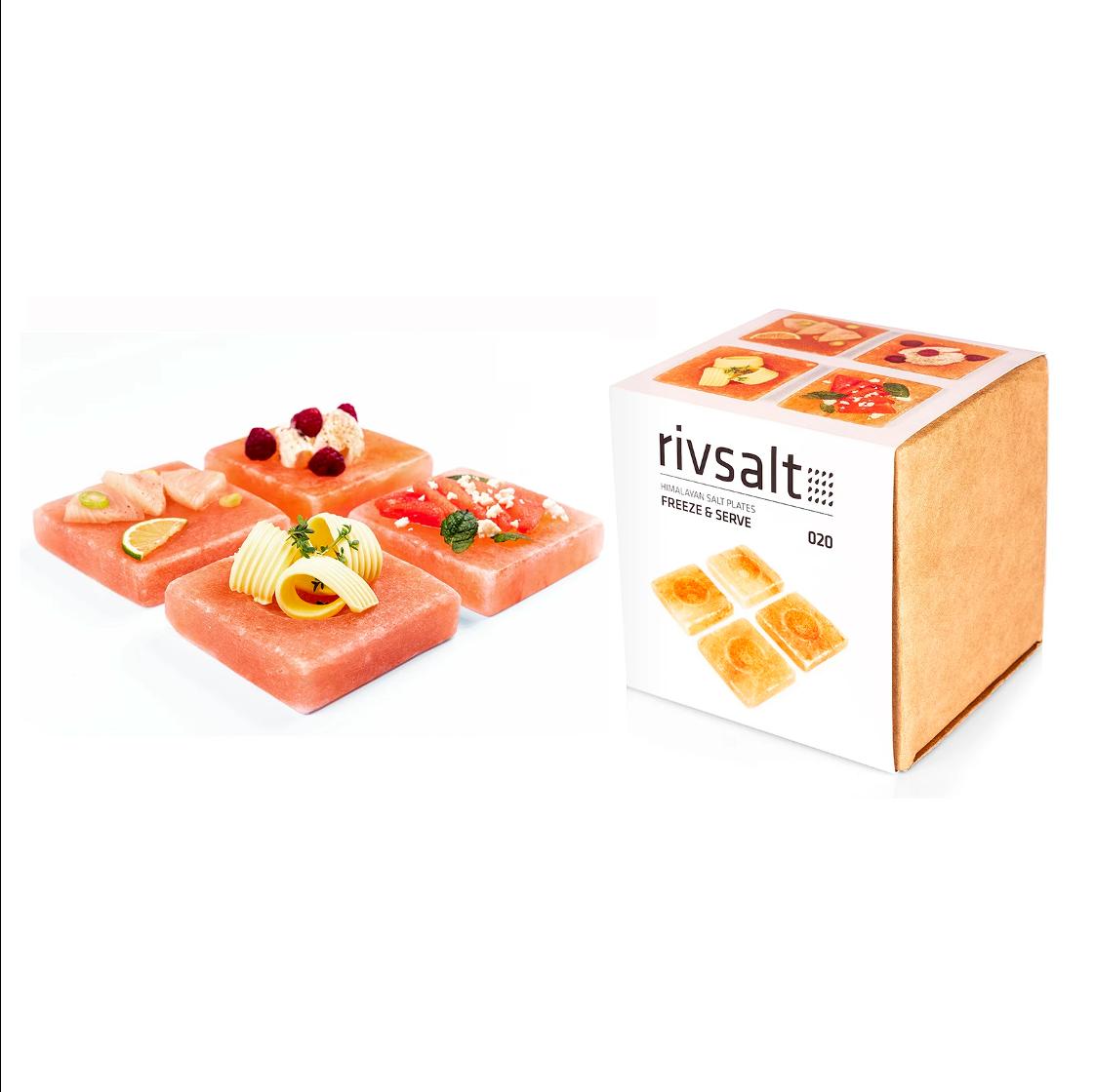Rivsalt Freeze & Serve - 4 Himalayan Salt Plates