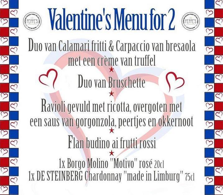 Peppe's Peppe's Valentijnsmenu voor 2 personen