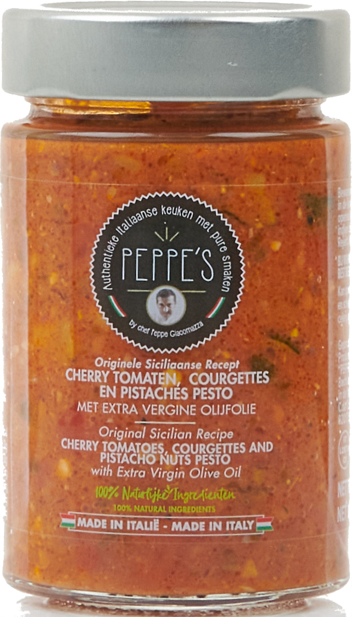 Peppe's Cherry Tomate, Courgettes, en Pistaches Pesto 200gr