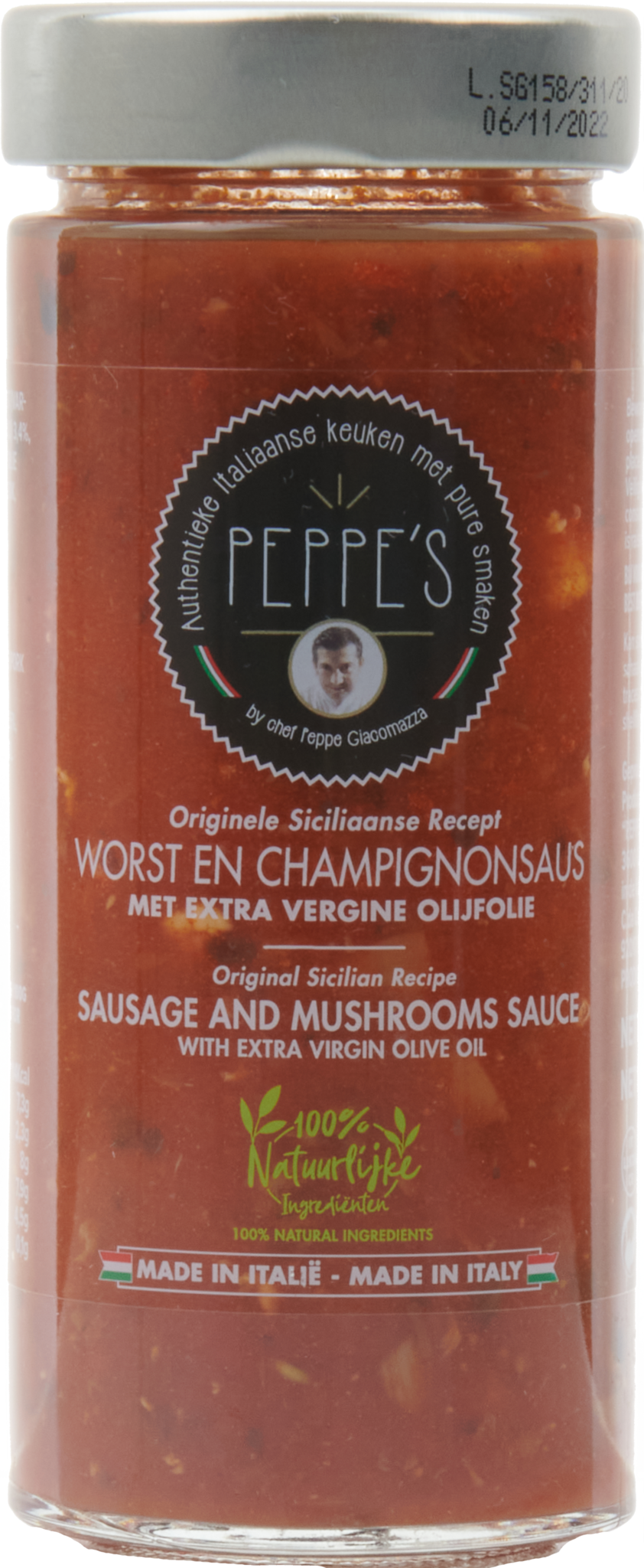 Peppe's Worst en Champignonsaus 300gr