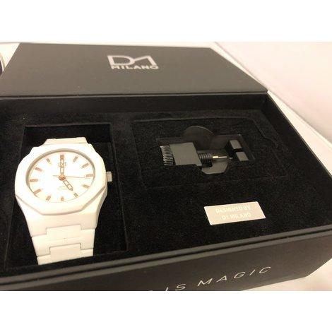 D1 Milano Neon Horloge Wit Unisex Nieuw in Doos