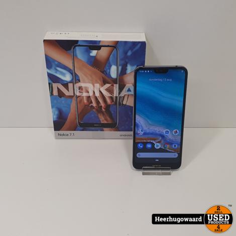 Nokia 7.1 32GB Blauw Compleet in Nette Staat