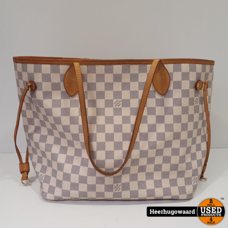 Louis Vuitton Neverfull MM Damier Azur Canvas in Goede Staat