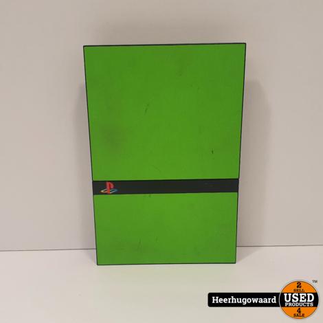 Playstation 2 Slim Zwart/groen Excl. Controller in Goede Staat