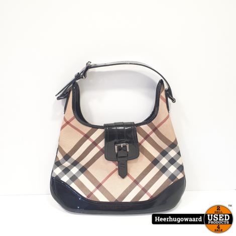 Burberry Brooke Nova Check Patent Hobo Shoulder Bag in Nette Staat