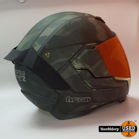 Icon moto battlescar 2 Size M 57-58 Motor Helm LegerGroen