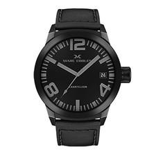Marc Coblen horloge - 50mm - Zwarte wijzerplaat - Zwarte horlogeband (MC50B1)