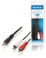 Valueline Stereo Audiokabel 3.5 mm Male - 2x RCA Male 5.00 m Zwart