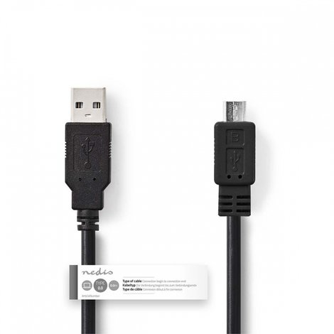 Kabel USB 2.0 | A male - Micro B male | 1,0 m | Zwart