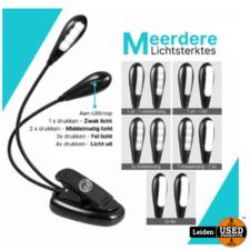 Yuana Oplaadbaar USB Leeslampje voor Boek met Klem - LED Lamp - Dimbaar - Leeslamp - Klemlamp - Zwart - Kinderen/Volwassenen - Bed/Kinderkamer/Slaapkamer/Studeerkamer - Bureaulamp