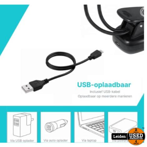 Oplaadbaar USB Leeslampje voor Boek met Klem - LED Lamp - Dimbaar - Leeslamp - Klemlamp - Zwart - Kinderen/Volwassenen - Bed/Kinderkamer/Slaapkamer/Studeerkamer - Bureaulamp
