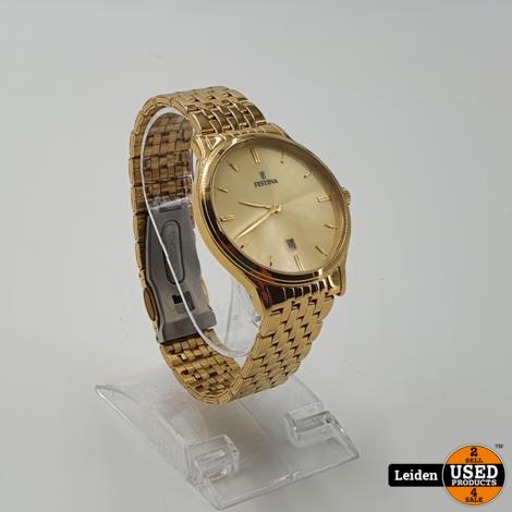 Festina F16746/2 Klassiek - Horloge- Staal - Goudkleurig - 39 mm